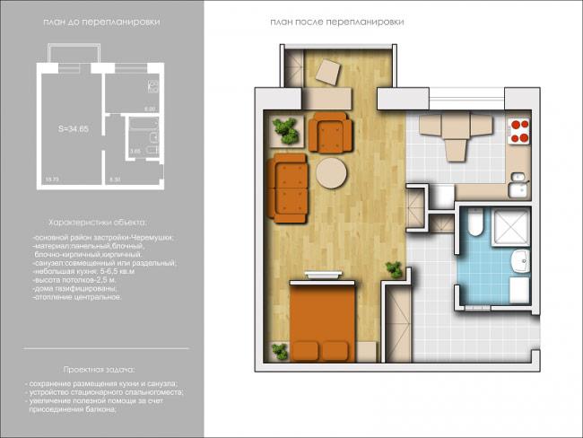 Дизайн 1 комнатной хрущевки угловые