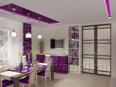 фиолетовый цвет в интерьере, фиолетовый дизайн, красивые интерьеры