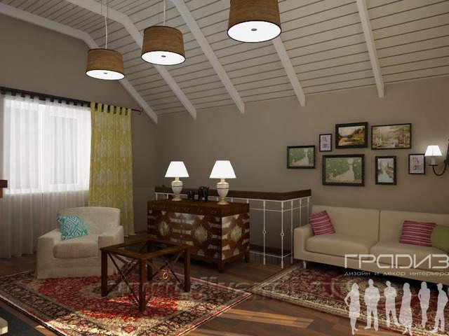 Дизайн интерьера: Интерьер мансарды.  Дом в скандинавском стиле.