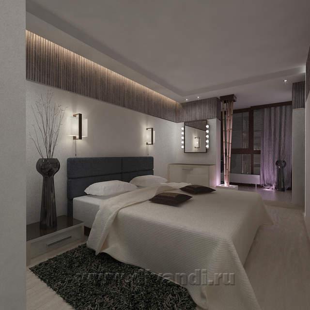 Спальня с бамбуком и светодиодной подсветкой. (Частный дизай.