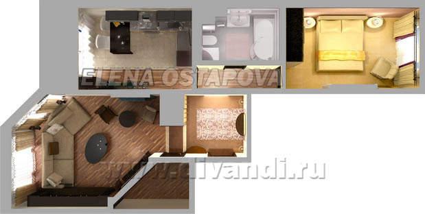 Дизайн однокомнатной квартиры ип-46с
