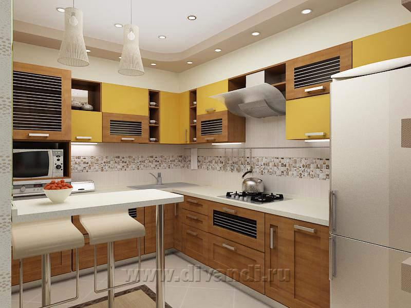 Кухня желтая с коричневым фото