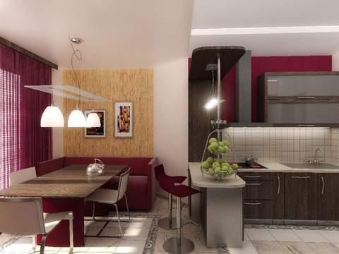 Дизайн кухни 13 кв.м с диваном и телевизором