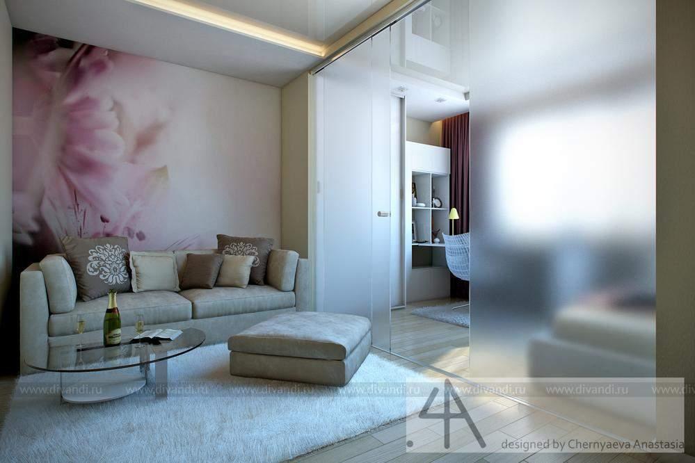 интерьер комнаты гостиная и спальня в одной комнате 18 кв м фото