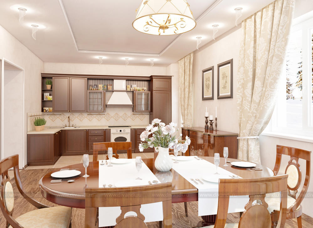 Кухня-столовая в загородном доме (Дизайнер интерьера Меньшикова Ксения) —  Диванди
