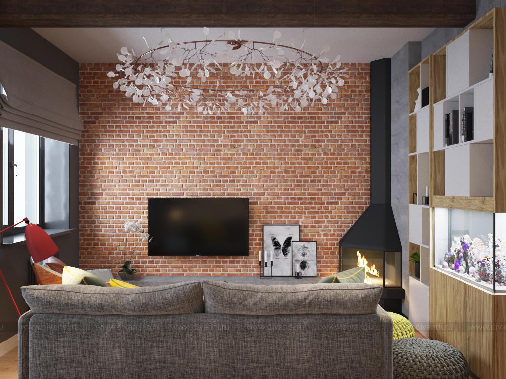 кухня гостиная в стиле лофт в москве дизайн студия Love Interior