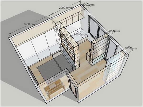 Зонирование квартиры при помощи стеллажей: визуализация с точными размерами мебели. Хочу обратиться к Вам за помощью